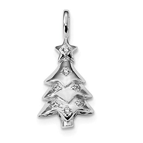 Saris and Things 925 Sterling Silber rhodiniert zirkonia Weihnachtsbaum anhänger in Form von