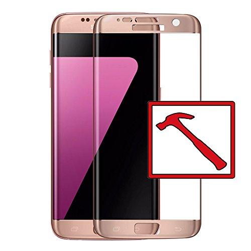 Slabo Premium Panzerglasfolie für Samsung Galaxy S7 Edge Full Cover Echtglas Displayschutzfolie Schutzfolie Folie Tempered Glass KLAR - 9H Hartglas - Rahmen Pink Gold