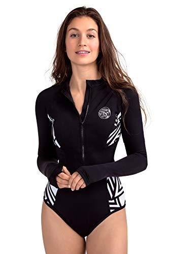 AXESEA Womens Long Sleeve Rash Guard UV UPF 50+ Sun Protection Printed Zipper Surfing One Piece Swimsuit Bathing Suit (16, Mystery Black)