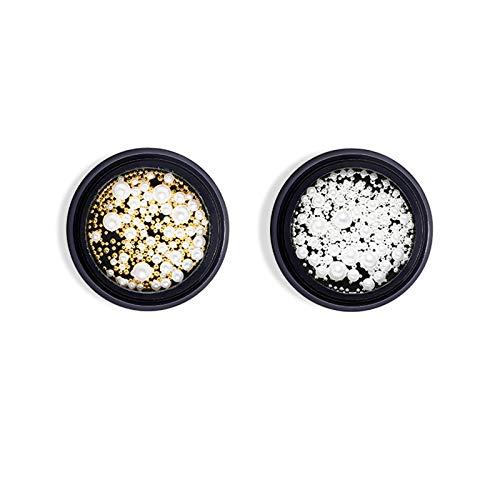 2 Boxen Nail Art Perlen Schmuck Gold und Silber Kleine Stahlkugel Gemischte Nageldekoration Strass Perle