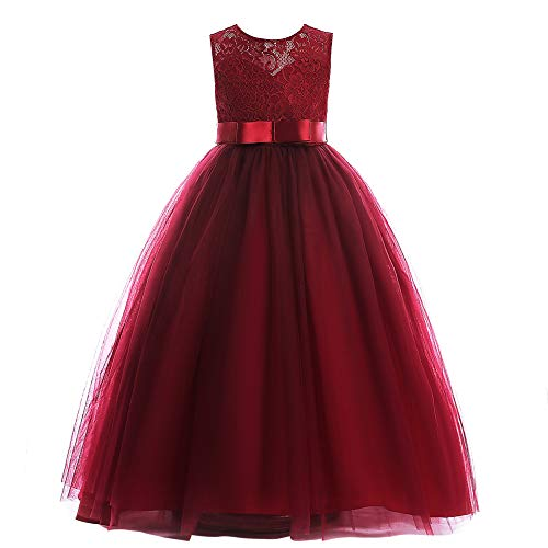 Weileenice Halloween 3-16Y Big Girls Lace Bridesmaid Dress Flower Girl Burgundy Christmas Gown Formal Prom Dance Junior Plus Princess A Line Dresses Long for Party Wedding (7-8Y, 8548-WR)