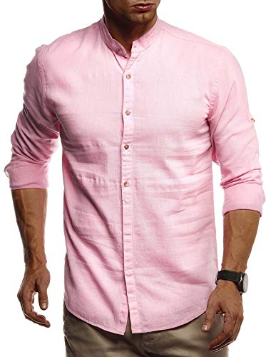 Leif Nelson Herren Leinenhemd Hemd Leinen Kurzarm T-Shirt Oversize Stehkragen Männer Freizeithemd Sommerhemd Regular Fit Jungen Basic Shirt Kurzarmshirt Freizeit Sweater LN3860 Pink Large
