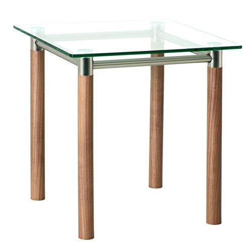 HAKU Möbel 42669 Beistelltisch 42 x 42 x 43 cm, vernickelt / satiniert / noce
