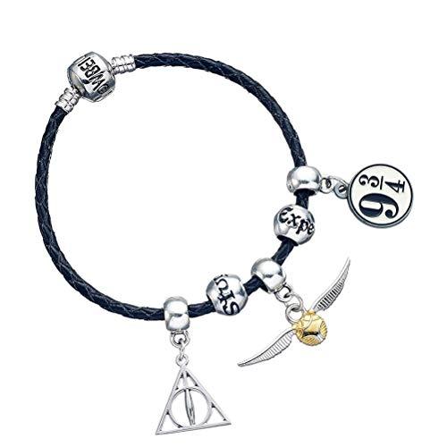Offiziell lizenziertes Harry Potter Armband aus schwarzem Leder mit Charms