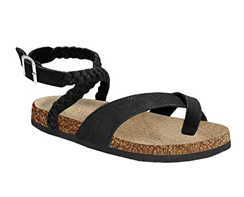 Syktkmx Womens Thong Flat Strappy Slip on Ankle Strap Cork Flip Flops Gladiator Sandals