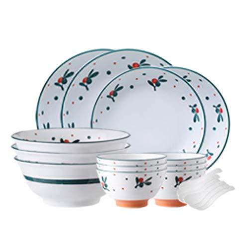 SMEJS Cfcjtz Conjunto de vajillas de diseño de diseño de diseño de cerámica, Platos nórdicos y vajilla de cerámica de la casa y combinación de Placas de Palillos