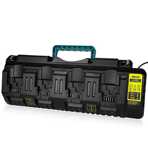 Energup DCB104 Replacement Charger for Dewalt 12V/Dewalt 20V Max 4-Port Li-Ion Fast Charger DCB102 DCB102BP DCB104 DCB118 DCB115 DCB107 DCB205-2 DCB204 DCB127 DCB609 Dewalt 20V Lithium Battery