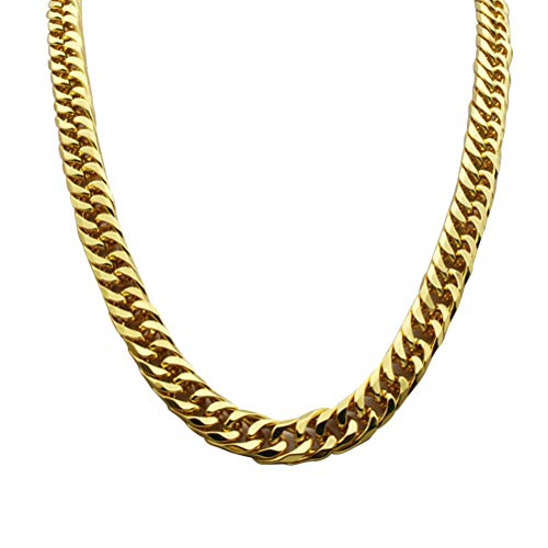 YeahiBaby Collar de Cadena de Oro de imitación 90s Estilo Punk Collar Bisutería Cadena de eslabones cubanos Cadena de Hip Hop Rotación Collar de Cadena Falsa 60 cm