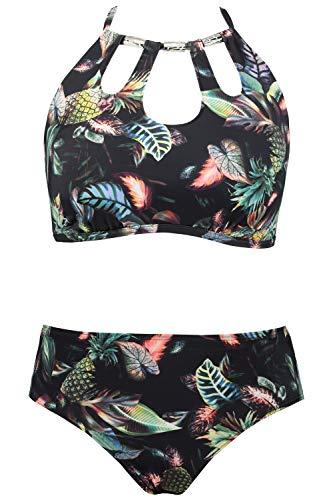 Ulla Popken Damen große Größen bis 64, Zweiteiliger Bikini, Ananas-Motiv, Softcup-Oberteil, Metallic-Dekor, Passender Slip, Multicolor 48 720578 90-48
