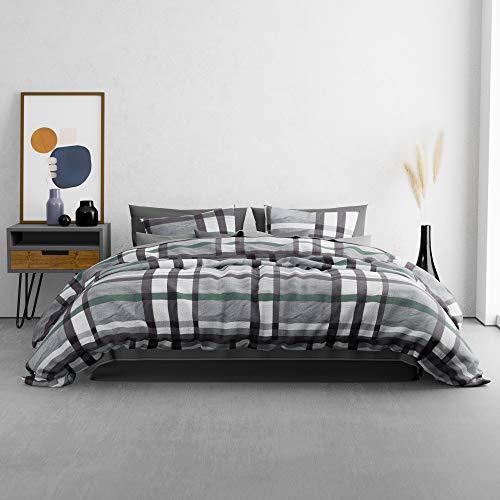 KØZY LIVING Juego de cama Traumwelt – 1 funda nórdica de 155 x 220 cm con funda de almohada de 80 x 80 cm – alta calidad transpirable para todo el año algodón con cremallera – gris a cuadros