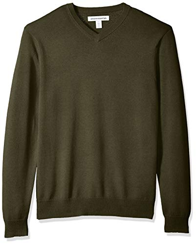 Amazon Essentials Men's V-Neck Sweater, Olive Heather, Large