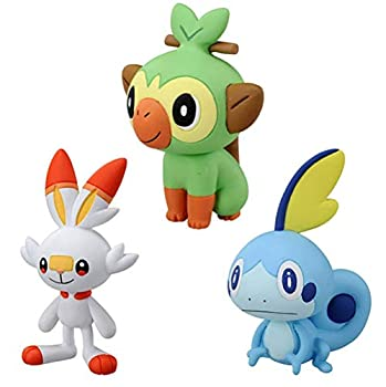 3 Pcs Sword and Shield Grookey Scorbunny Sobble Action Figure Toys Style Figure Toys Gifts for Kids Plush Toy WYYHYPY