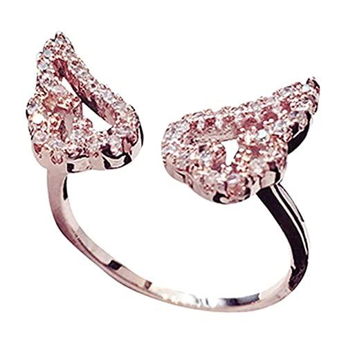Chahu Anillo de dedo ajustable con alas de ángel de la guarda para mujeres y niñas