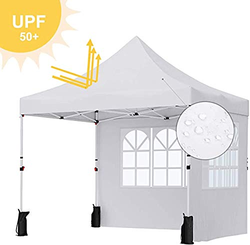 FMXYMC Gazebo, 3 x 3 m Marquee Tent, Anti-UV, Waterproof Pop Up Awning Canopy Tent with Wheeled Carry Bag, Weight Bags, 2 Sidewalls