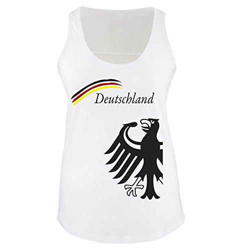 Comedy Shirts Deutschland Motiv 20 Damen Tank Top Weiss/Schwarz-Rot-Gelb Gr. S