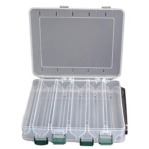 Yosoo Doble cara 12 compartimientos señuelos de pesca cuchara ganchos cebos gancho aparejo cuentas caja de almacenamiento de plástico