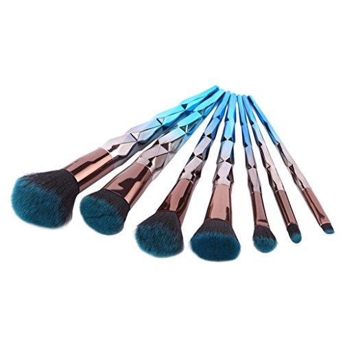 Professional Makeup Brushes Set,URSING 7 brosses de Maquillage Diamant Bleu Gris Pro Pinceaux de Maquillage Set Fondation Poudre Fard À Paupières Eyeliner Lèvre Brosse Outil (Bleu)
