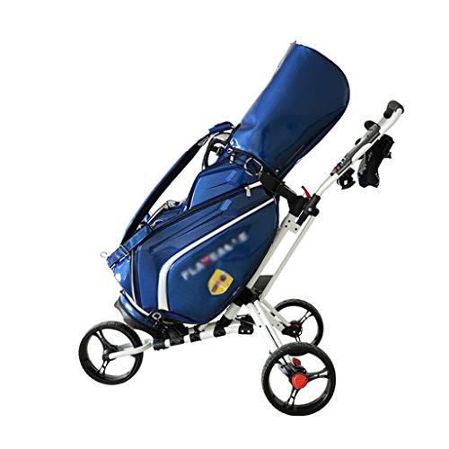 FEFCK Zieh-Golfcarts Drehbarer Golf Push Cart 3-Rad Klappbar Mit Schirmständer/Scorecard-Ständer/Ablagefach Leicht Zu Tragen Und Zu Bewegen