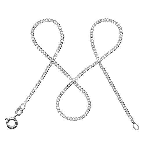modabilé Panzerkette Damen Halskette 925er Sterling Silber (40cm I 1,7mm breit) I Silberkette Damen 925 ohne Anhänger I Zarte Silberne Kette für Frauen mit Geschenk-Etui I Produziert in Deutschland
