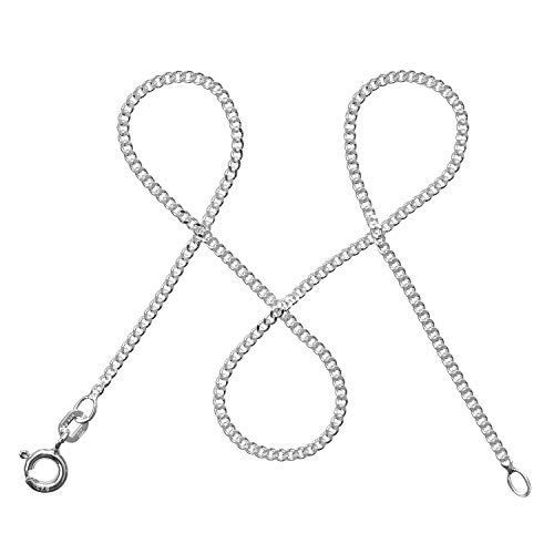 modabilé Cadena de bordillo para damas de plata de ley 925 (1,7mm) SINCERE Collar 60cm: Cadena fina de plata sin colgante + Estuche de regalo I Hecho en Europa
