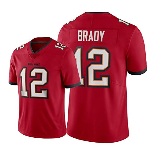 Tǒm Brǎdy Herren American Football Trikot,# 12 Buccǎneers Jugend Rugby Training Kurzarm Red Vapor Limited T-Shirts XL