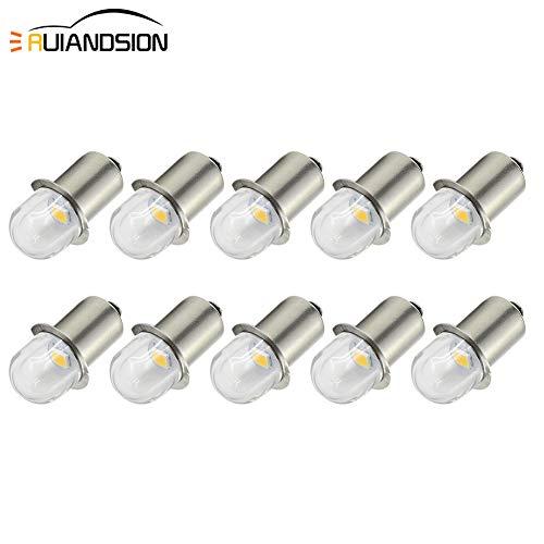 Ruiandsion - Bombillas LED para linterna P13.5S (casquillo de base, 3 V/6 V, repuesto para linterna frontal, luz negativa, 10 unidades), 3 V