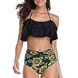 SUCES - Conjunto de Bikini para Mujer de Cintura Alta, Traje de baño de Dos Piezas para Mujer, Talla Plus, Sexy, sin Espalda, para la Playa, Estampado Negro XXL