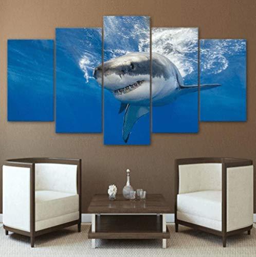 XXXCH Cuadro Moderno En Lienzo 5 Piezas - Tiburón Animal Submarino Cuadro De Pintura Póster De Arte Moderno Oficina Sala De Estar O Dormitorio Decoración del Hogar Arte De Pared 200X100CM