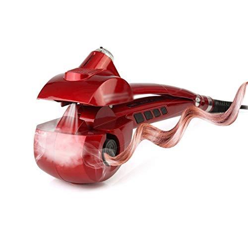 ZJHDX Vapor automático Profesional de cerámica de la Varita Que se encrespa, Auto Giratorio de Vapor vaporizador rizador-Espiral de Pelo rizador de Hierro Styling Tool (Color : Red)