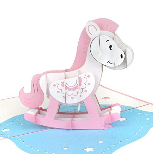 3D Baby-Karte Schaukelpferd Mädchen rosa – Glückwunschkarte zur Geburt/Geburtstag eines Mädchens – Handgefertigte Pop-Up Karte, Its-a-Girl Gratulationskarte