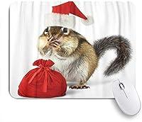EILANNAマウスパッド 赤いサンタクロースの帽子の動物の面白いリスのクリスマスシマリス ゲーミング オフィス最適 高級感 おしゃれ 防水 耐久性が良い 滑り止めゴム底 ゲーミングなど適用 用ノートブックコンピュータマウスマット