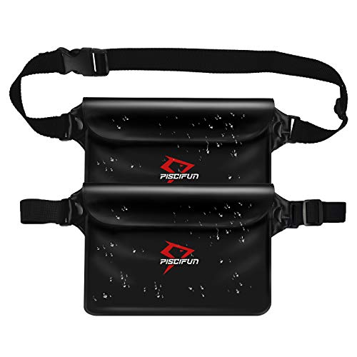 Piscifun Waterproof Pouch with Waist Strap, IPX8 Certified Waterproof Waist Bag, Safety to Keep Your Phone and Valuables - Great as a Waterproof Phone Case or Waterproof Wallet Jet Black