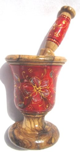 Wooden Mortar and Pestle: Hand Carved Hand Painted Natural Olive Wood From Tunisia - Home Kitchen Bathroom Décor - New