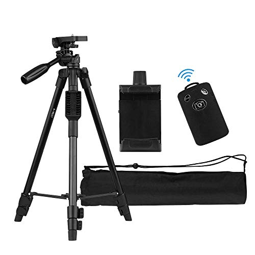 Andoer 47-inch Lightweight Portable Travel Camera Tripod Stand Compact Aluminum Alloy with Smartphone Holder BT Remote Control Carrying Bag 2kg/4.4lb Load for Camera Camcorder Cellphone