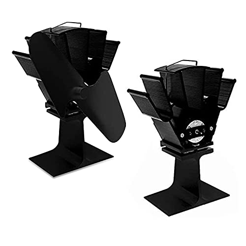 AcornSolution Stove Fan- Heat Powered for Wood Burning Stove Log Burner Fireplace - Eco Friendly and Efficient Fan (Black)