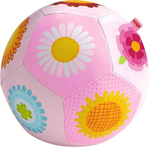 HABA 302481 - Babyball Blumenzauber, weicher, leicht zu greifender Stoffball mit Blumenmotiven, Babyspielzeug ab 6 Monaten