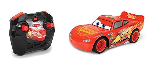 Dickie Toys 203084028 Cars 3 Lightning McQueen Turbo Racer, RC, ferngesteuertes Auto mit 2-Kanal Fernbedienung, Spielzeugauto mit Turbofunktion, USB Ladefunktion, inkl. Batterien, Maßstab 1:24, 17 cm