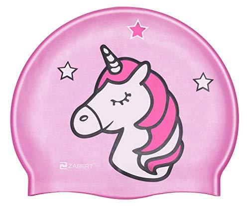 ZABERT C300 Kinder Badekappe Silikon Badekappen Wasserdicht schwimmhaube kinderbadekappe Jungen mädchen Baby - Lange Haare badehaube Bademütze Rosa Pink Einhorn