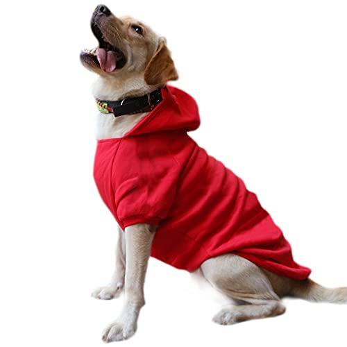 Eastlion Sweat à Capuche Grand Chaud Coton Sweatshirt pour Chiens Pet Pull Vêtements Veste pour Chien Manteau Jumpsuit Costume,Rouge,7XL