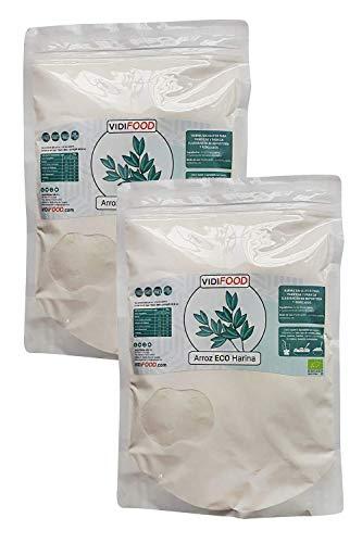 Harina de Arroz ECO - 2kg - Arroz Orgánico molido - Puro arroz blanco para hornear y cocinar - Harina almidonosa sin gluten