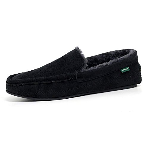 Dunlop Mens Famous George Moccasin Loafers Faux Sheepskin Fur Slippers with Rubber Sole (11 UK, Black)