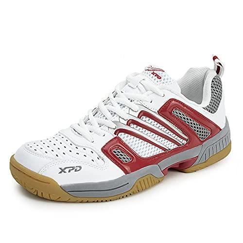 FJJLOVE Scarpe da Badminton, Scarpe da Ping-Pong Leggera da Tavolo Antiscivolo da Sneakers A Piedi Confortevoli Casual Fitness Scarpe Atletiche,Rosso,44