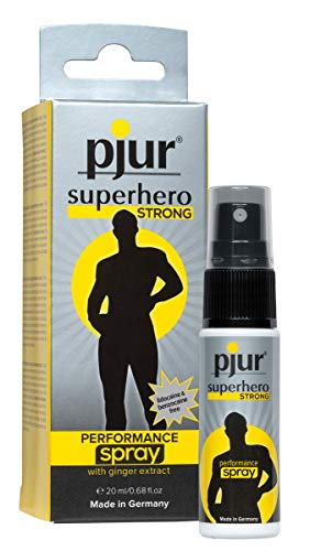 pjur superhero STRONG performance spray - Espray retardante muy concentrado para hombres - extracto de jengibre para durar más (20ml)