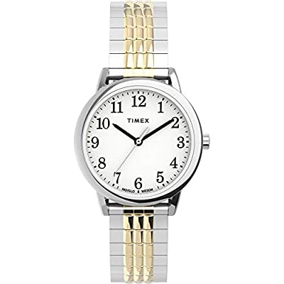 Timex Women's TW2U08500 Easy Reader 30mm Two-Tone/White Perfect Fit Expansion Band Watch