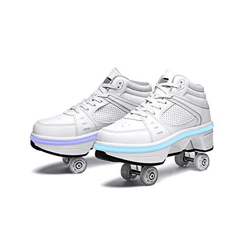 HANHJ Zapatos con Ruedas, Zapatos Skate para Mujeres Hombres Luz Respiración Niños Zapatos con Ruedas Zapatillas con Ruedas para Regalo Unisex para Principiantes,White-EU37/UK4