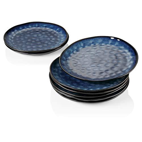 vacasso Serie Starry Plato de Cena Juego de 8 Platos Llanos 28CM Plato Grande Retro Vajilla de Gres Diseño de Bordes Irregulares Azul