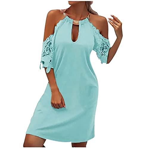 Women Beach Sundress Metal Hanging Neck Printed Sleeveless Midi Dress Hollow Out Strap Top Dress Swing Mini Dress