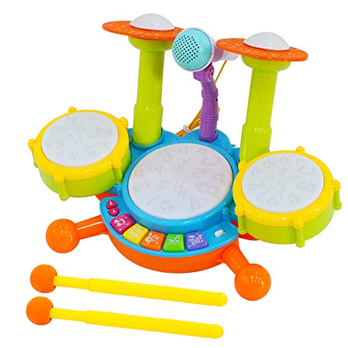 deAO Anfänger Musikalische Tischtrommeln Spielset mit Trommelstöcke, Mikrofon, Lichtfunktionen, interaktive Musik und Sounds für Babys und Kinder