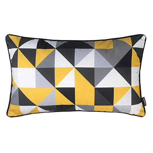 Cushoo Modern Geometric Rectangle Cushion Cover in Mustard Yellow, Grey, Black and White | Oblong Decorative Scatter Pillow Case for Sofa | 30cm x 50cm | 12in x 20in