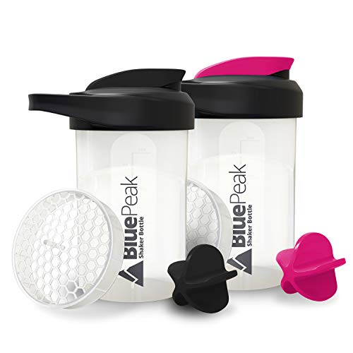 BluePeak Protein Shaker Bottle 20-Ounce, 2-Pack, with Dual Mixing Technology. BPA Free, Shaker Balls & Mixing Grids Included (Black & Pink)